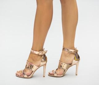 Sandale aurii de vara din piele lacuita cu toc inalt