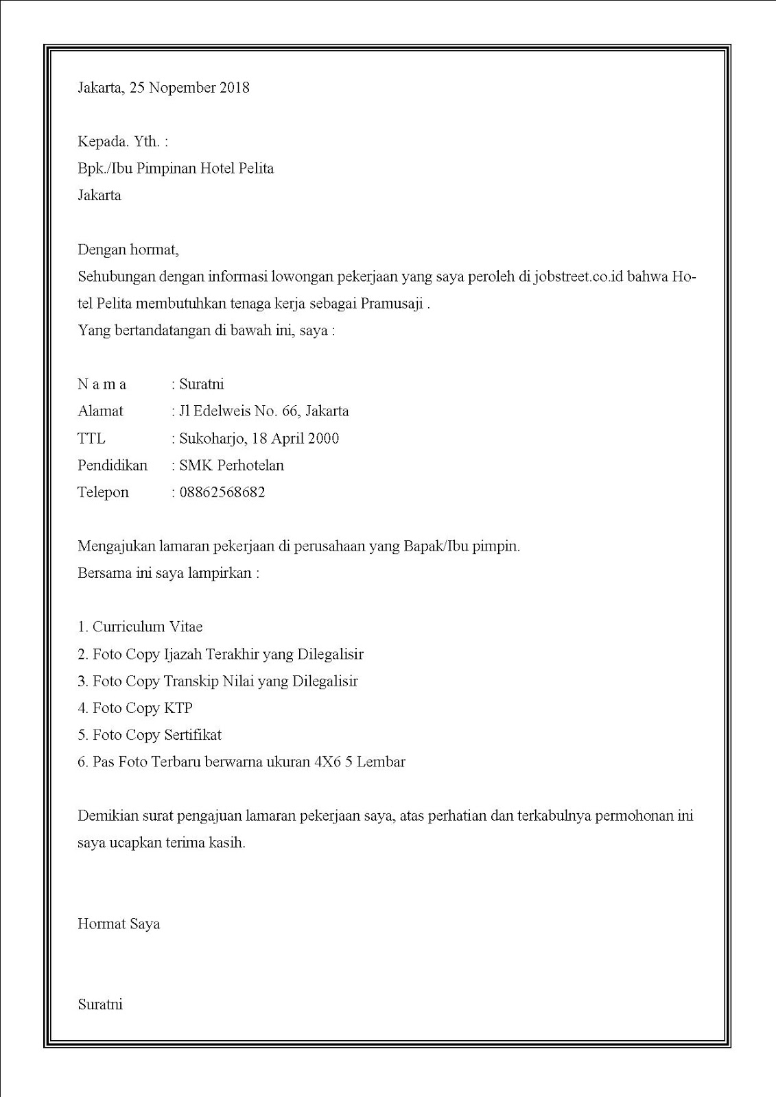 Contoh surat lamaran kerja di hotel sebagai pramusaji