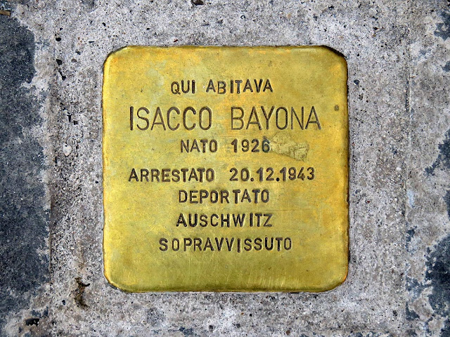 Stolperstein, stumbling block, remembering Isacco Bayona, Livorno