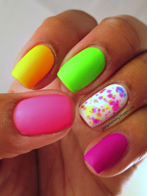 China Glaze Pool Party, Cosmetic Arts Explosive, Savina Power Up, Lush Lacquer Clowning Around, Color Club Mrs. Robinson, neon, skittle, nails, nail art, nail design, mani