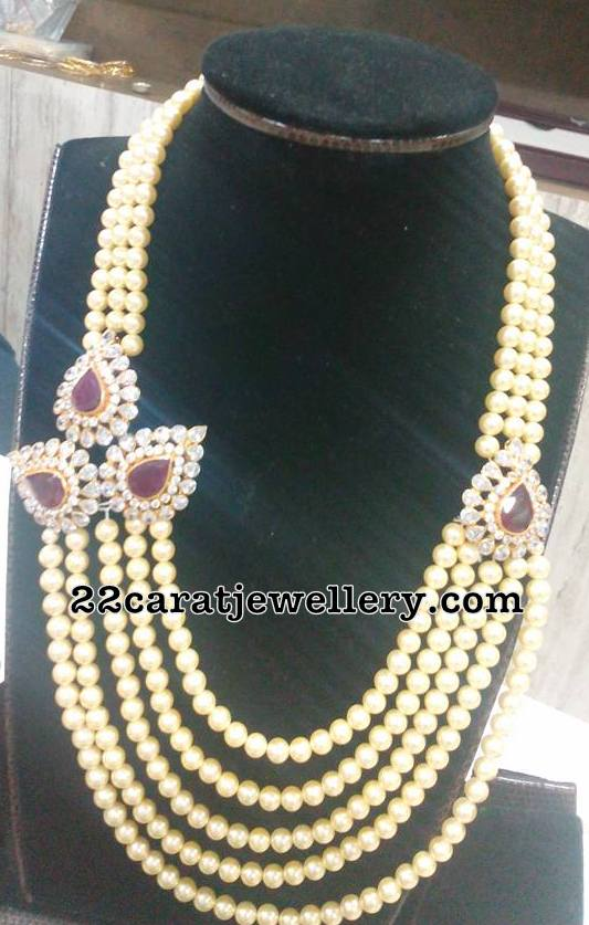 Pearls Long Chain with Cz Side Motif