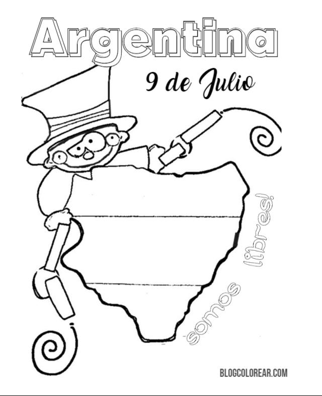 dibujos 9 de Julio Independencia argentina para colorear