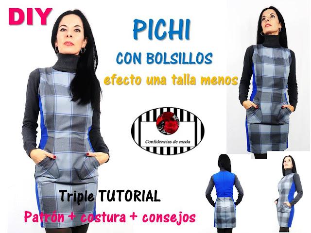 DIY. Pichi con bolsillos efecto una talla menos.  Triple tutorial: patrones, costura y consejos