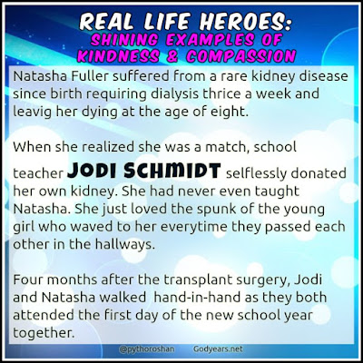 When she realized she was a match, school teacher Jodi Schmidt selflessly donated her own kidney to 8 year old Natasha Fuller who was dying of kidney failure.