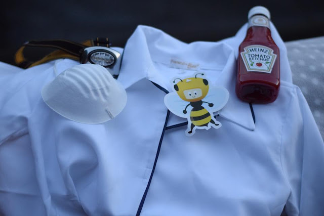 Making a world book day costume with ketchup and a lab coat
