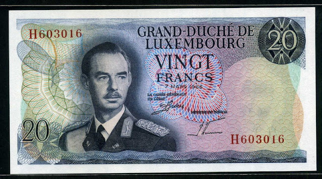 Luxembourg banknotes money currency 20 Francs banknote Grand Duke Jean