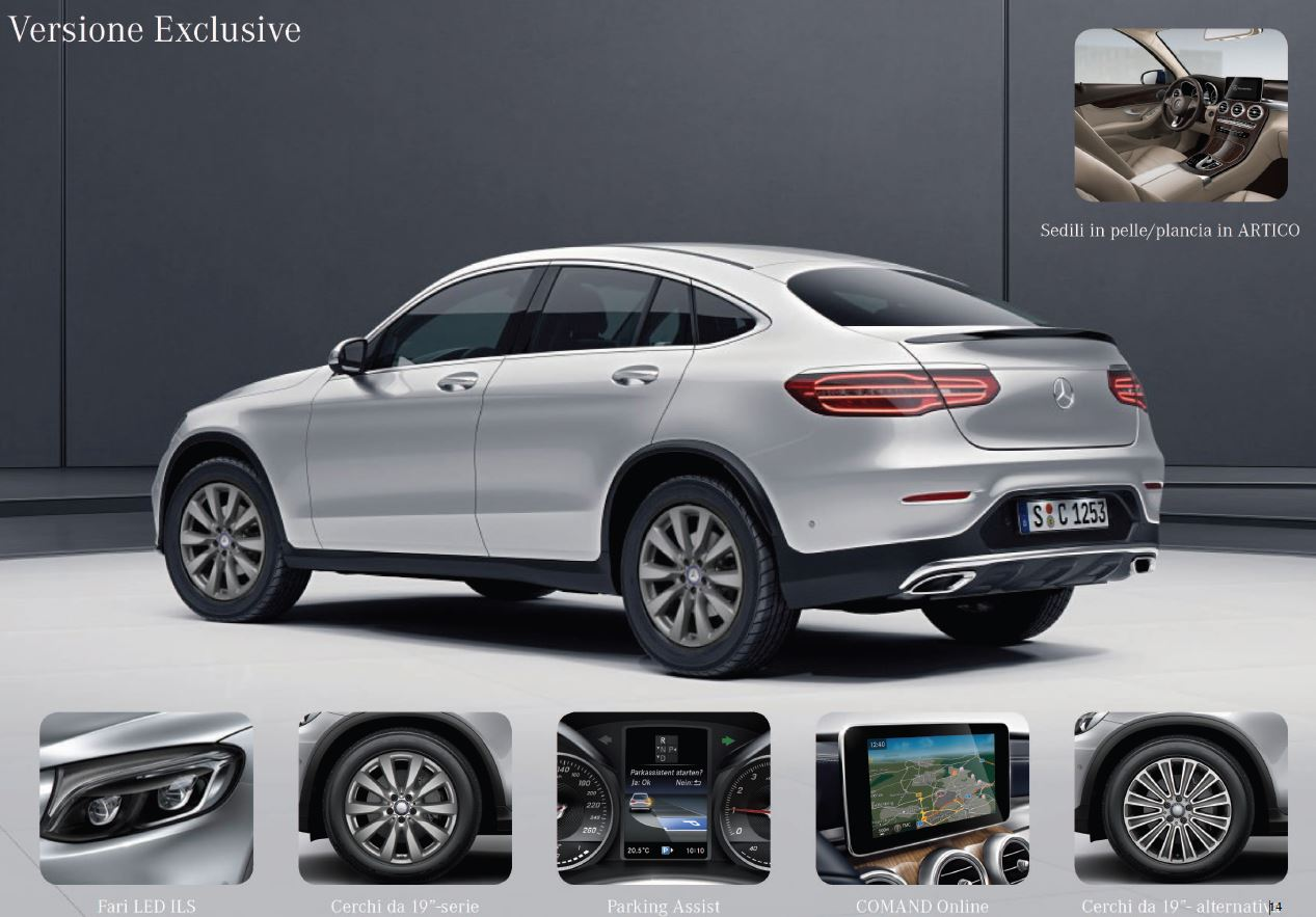 Mercedes GLC coupè allestimento exclusive optional