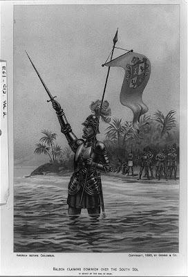 Balboa reclamando el dominio sobre el Mar del Sur, en nombre del Rey de España