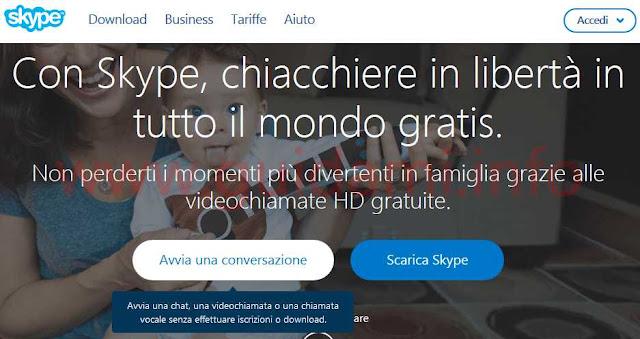 Sito Skype per usare Skype senza registrazione