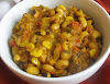 Black-Eyed Peas Simmered in a Spicy Tomato Sauce with Corn