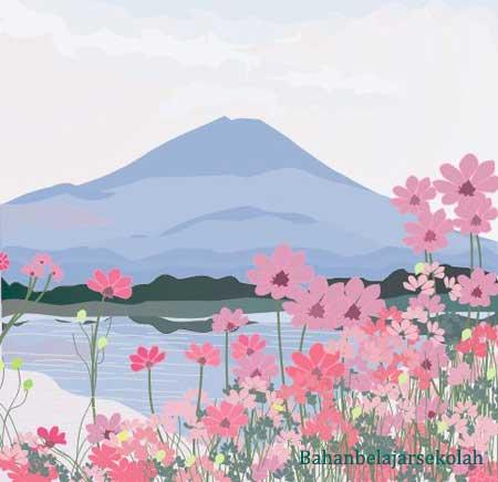 Gambar Pemandangan Bunga Menggunakan Corel Draw