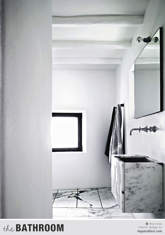 Contemporary bathroom with marble floor and sink. Photo by Tommaso Sartori for At Casa.