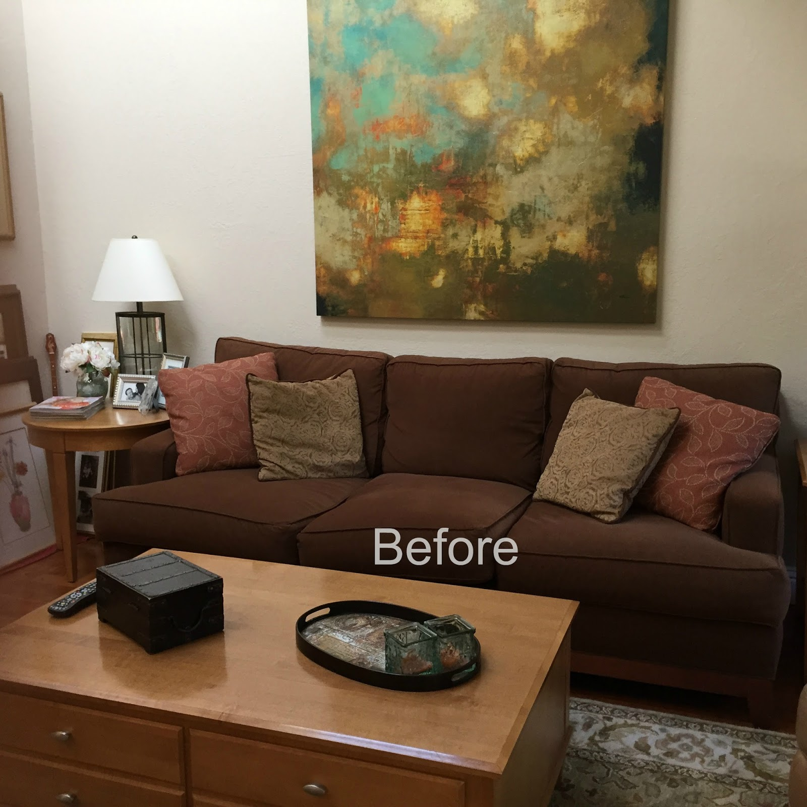 Brown Couch Blues Mini Makeover Before And After