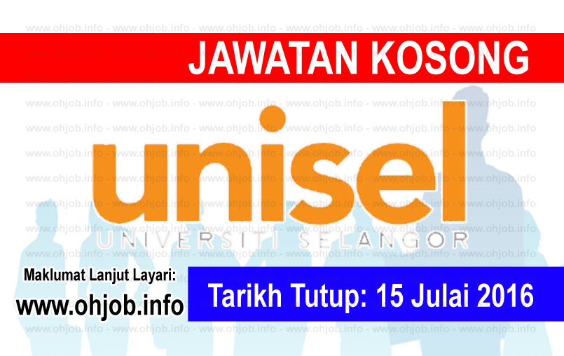 Jawatan Kerja Kosong Universiti Selangor (UNISEL) logo www.ohjob.info julai 2016