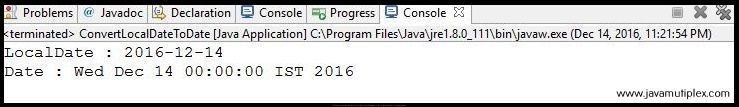 Output of Java program that converts LocalDate to Date.