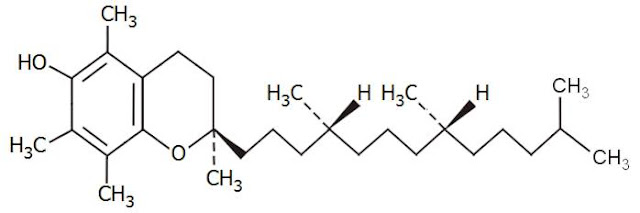 Χημική δομή βιταμίνης Ε.