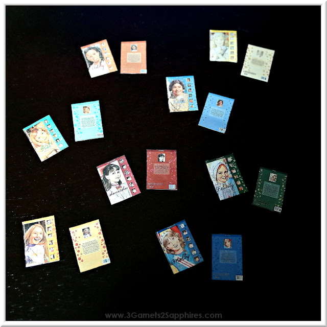 How to make your own set of miniature dollhouse American Girl books.  www.3Garnets2Sapphires.com