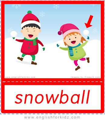 Snowball - printable Christmas and winter season flashcards