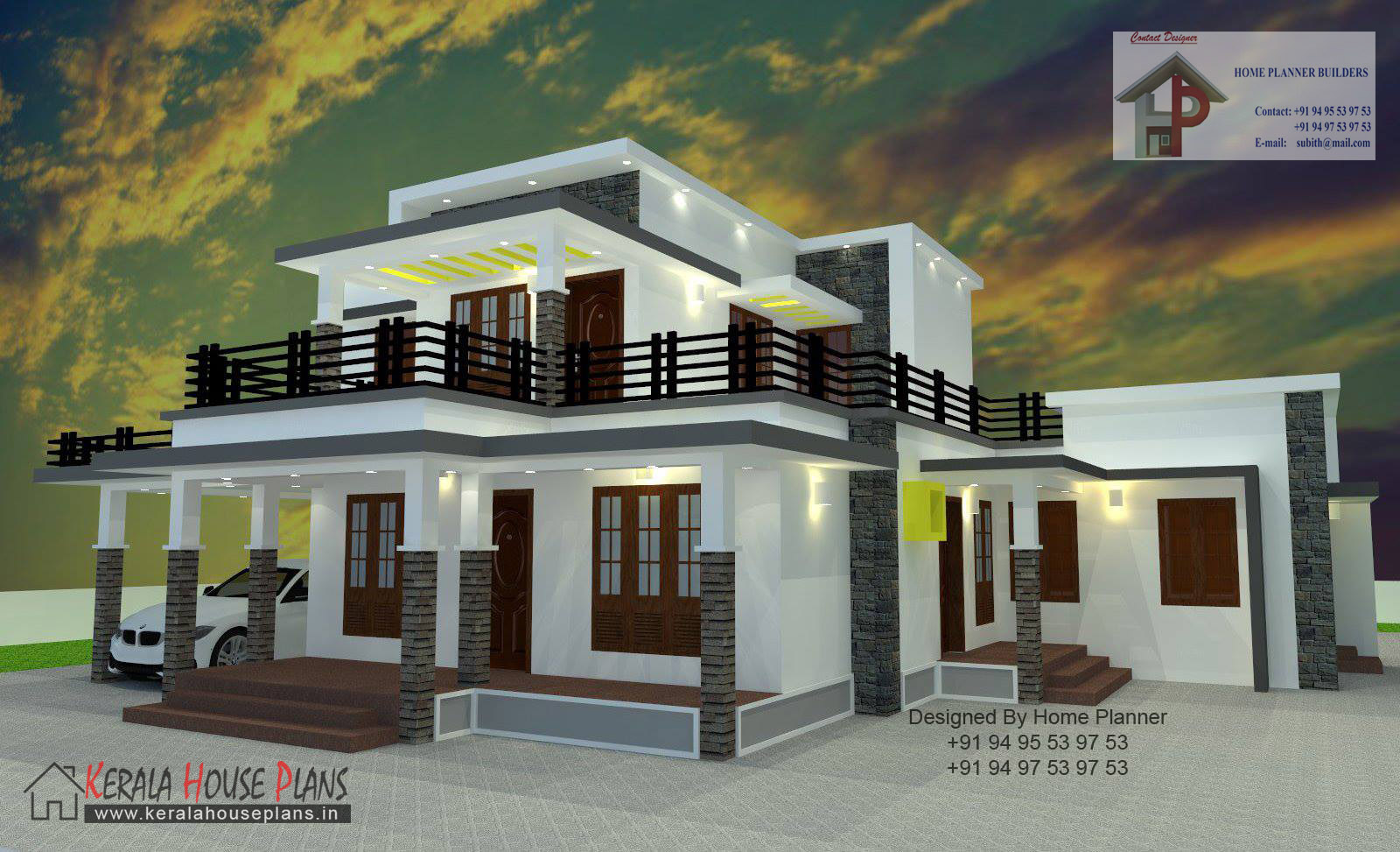 2000 sqft box type house kerala house plans designs for Type of floors in houses