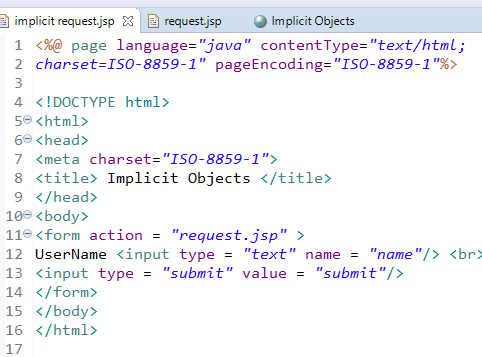 JSP Implicit Objects