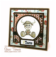 Taurus birthday card featuring Digital Delights stamp, sentiment and paper, by Paperesse.