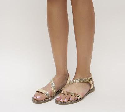 sandale fara toc aurii cu sclipici de vara