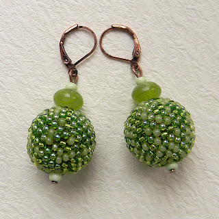 beadwork beaded beads peyote beadweaving seed bead earrings spring green