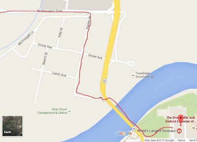 Map of Bike Route from Info Centre to Tyrrell Museum