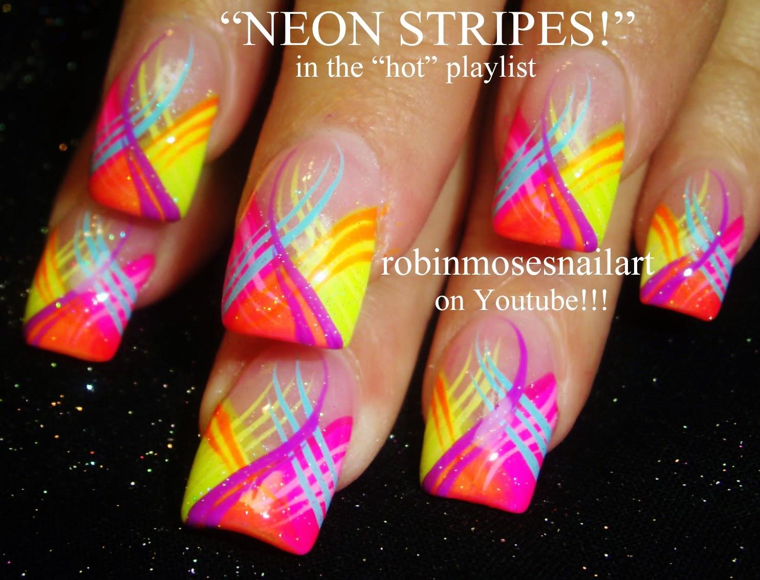 Nail Art by Robin Moses: Super fun and trendy NEON bright nail ...