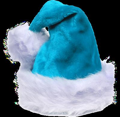 fluffy teal santa hat