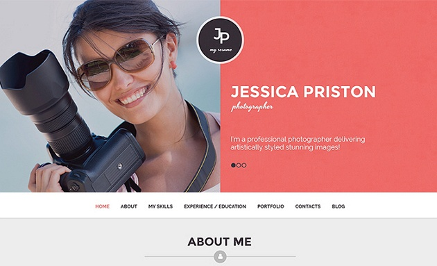Stunning Photographer CV WordPress Theme