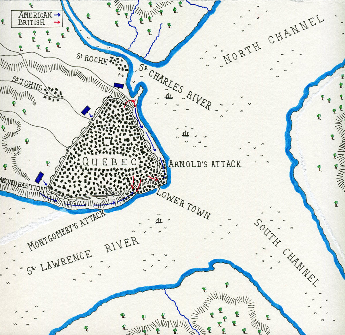 map showing american forces attacking quebec viewed at