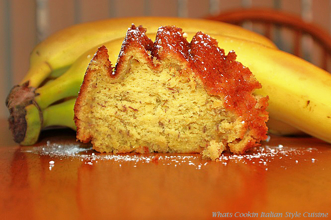 This is a slice of cake made from a cake mix with fresh bananas to taste like a scratch cake.
