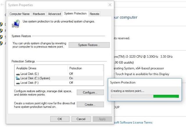 Cara membuat system restore point manual Windows 10
