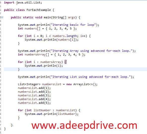 Java Enhanced For Loop Examples Java W3schools