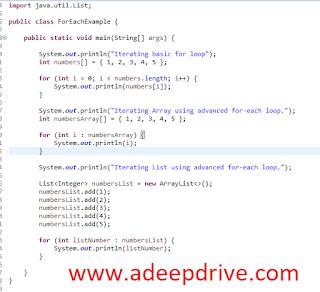 Java Enhanced For loop, Examples