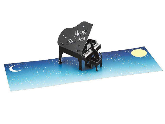 Happy Birthday Laser Cut Piano w/ Cat Pop Up Greeting Card