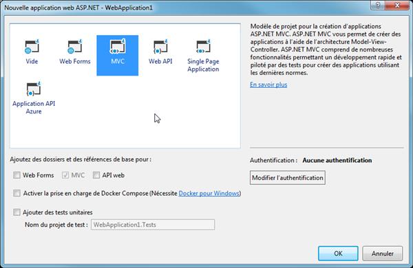 Création d'une solution ASP.NET Framework - MVC