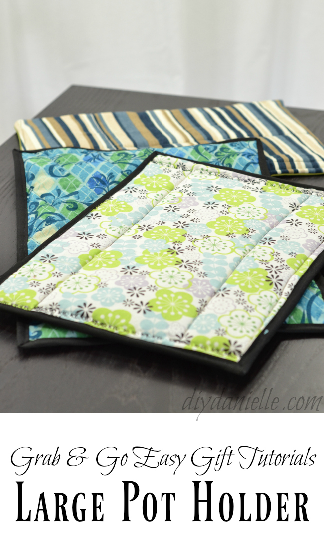 Three large pot holders for casserole dishes.