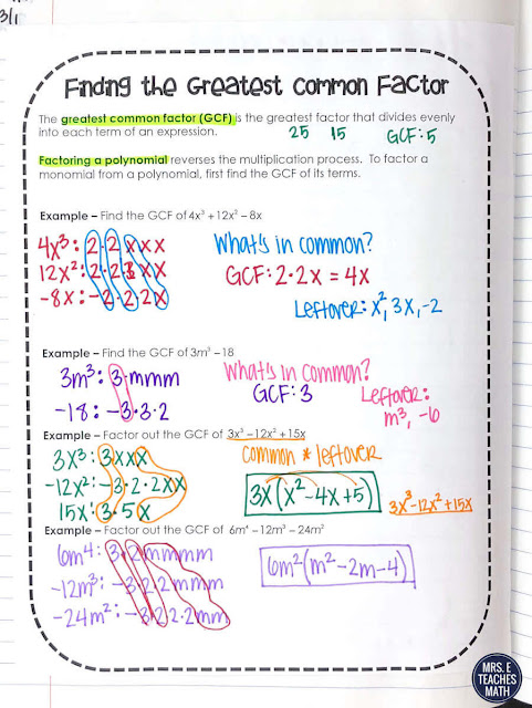 This lesson helps my algebra students learn to factor polynomial and quadratic expressions.  The notes and activity make teaching this topic so much easier.