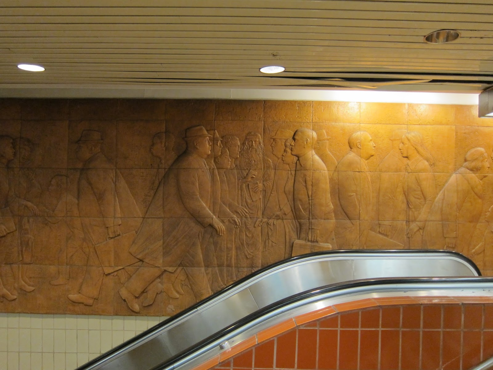 William McElcheran's Cross Section terra cotta bas-relief at Dundas Station