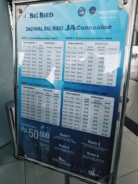 rute dan jadwal keberangkatan bus Blue Bird JA Aconnexion ke bandara SOETA