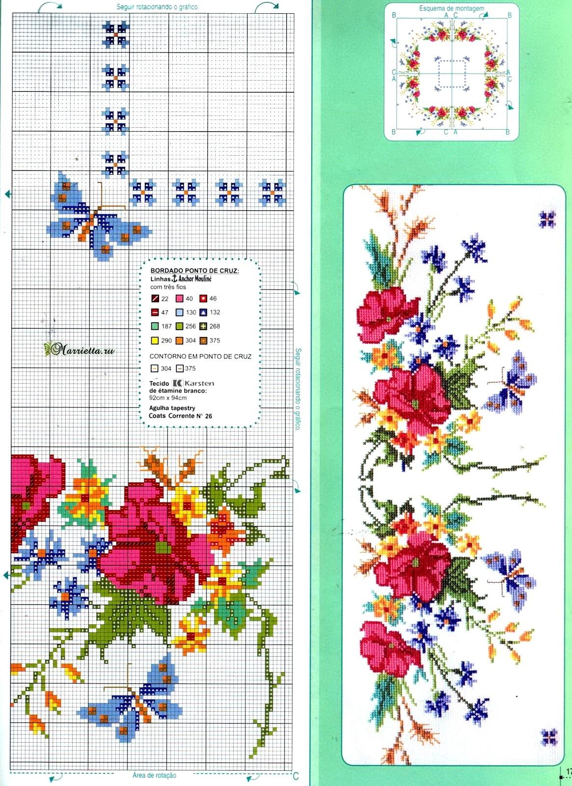 Цветы и бабочки на скатерти. Схема вышивки крестом (2)