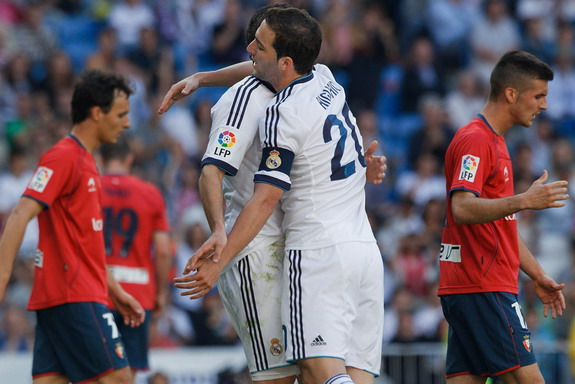 Gonzalo Higuaín celebrates after scoring what possibly his last goal for Real Madrid