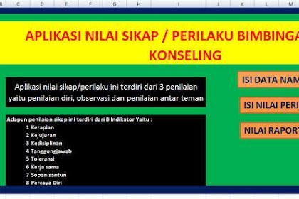 Aplikasi Nilai Sikap Guru BK Deskripsi Otomatis Format Excel