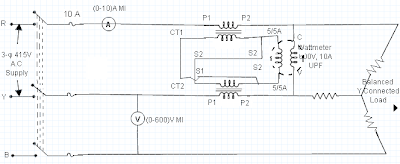 Measurement of 3-Phase Power Using 2 CTs and 1 Wattmeter