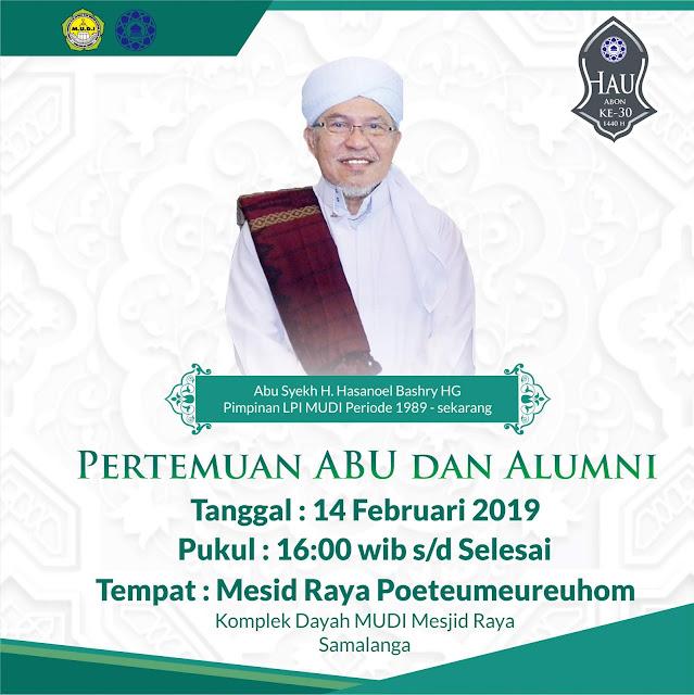 Pertemuan Abu MUDI Dengan Alumni Setelah Ashar Besok