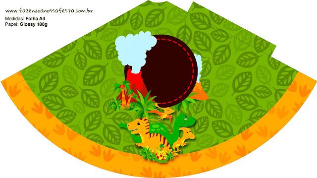 Sombrero  de Fiesta de Dinosaurios para imprimir gratis.