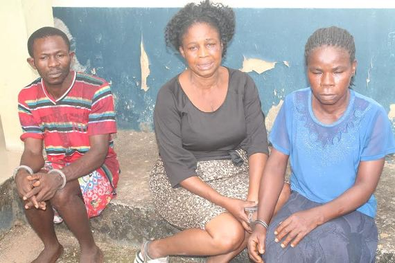 Abia Police parade child trafficker, robbery suspects, woman who bought stolen child for N150k (photos)