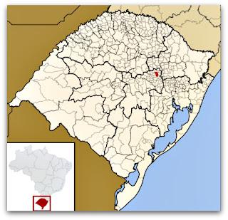 Cidade de Encantado, no mapa do Rio Grande do Sul